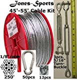 Medium Duty 55' Indoor/Outdoor Cable Kit for Baseball Softball Batting Cage Net with 5/16'' turnbuckles, 1/8 cable clamps, and zinc carabiners