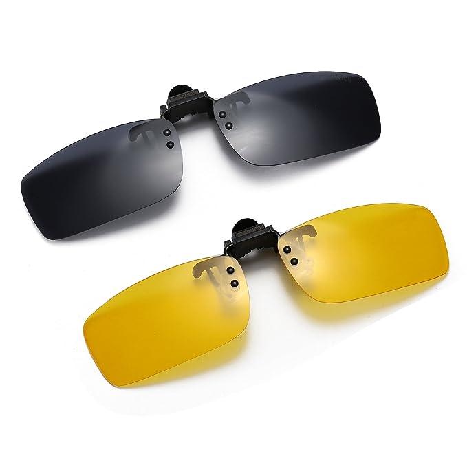 924675166c anteojos de sol polarizadas con clip de metal para anteojos de  prescripción, Black+yellow