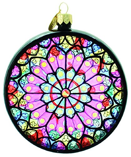 Landmark Creations Notre Dame Rose Window Paris, France Polish Glass Christmas Ornament