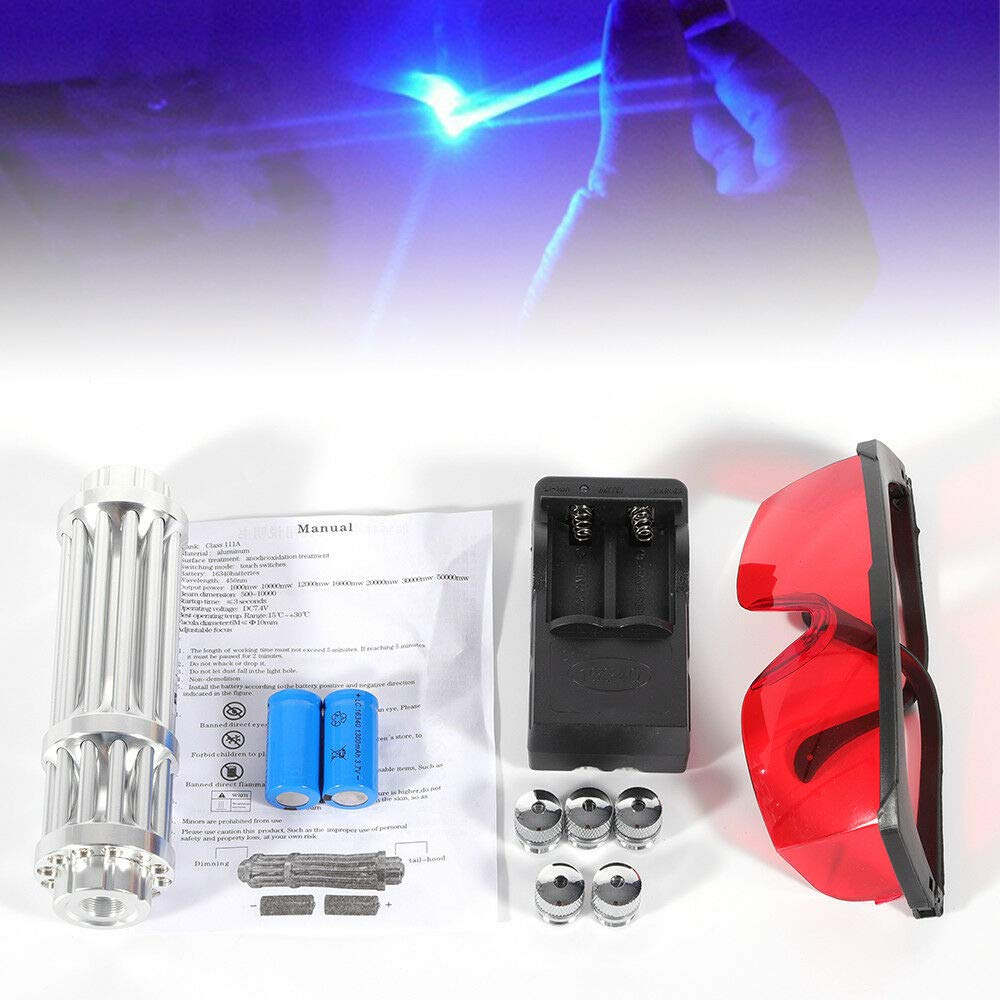 DY19BRIGHT 5mW Blue Laser Pointer Match Pen Burning Beam Lights Set Kit 450nm with Goggles US Stock