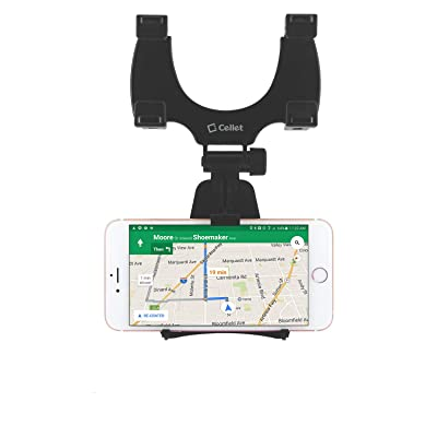 Cellet Car Rear-view Mirror Mount Phone Holder compatible for Samsung Note 10 9 8 Galaxy S10 S9 S8 A6/j7/J3 Apple iPhone 11 Pro Max XS Max XR X 8 LG V40 ThinQ Stylo 4 Moto Z3/Play G6/G,e5 Play Plus