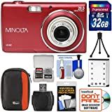 Minolta MN5Z 20MP HD Digital Camera (Red) with 32GB Card + Battery + Case + Tripod + Kit