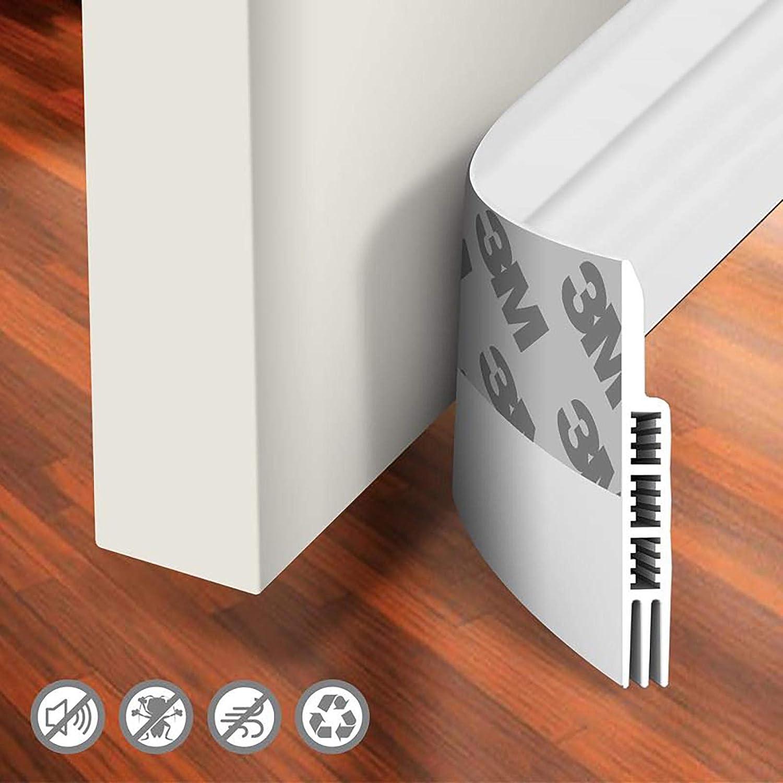 "Holikme Door Draft Stopper Under Door Draft Blocker Insulator Door Sweep Weather Stripping Noise Stopper Strong Adhesive White 39"" Length: Home & Kitchen"