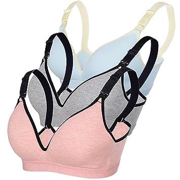 Amazon.com   Womens Maternity Bra Wirefree Breastfeeding Sleeping Nursing  Bras Bralette (Blue Red Grey