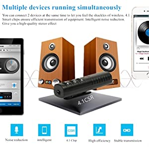Bluetooth Audio Receiver, iCrius Wireless Bluetooth 4.1 Hands-Free Audio Receiver & Mini 3.5mm Aux Audio Adapter Kits for Headphones/Speakers/Car/Home Streaming Music Stereo Sound System (Black) (Color: Black)