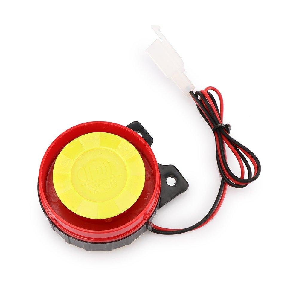 Winbang Sistema de alarma Sistema de Bloqueo de moto antirrobo cuerno del sistema de alarma de seguridad Warner con control remoto, DC 12V Negro