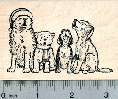 Christmas Dog Rubber Stamp, Hounds Singing - Dog Rubber Wood Stamp