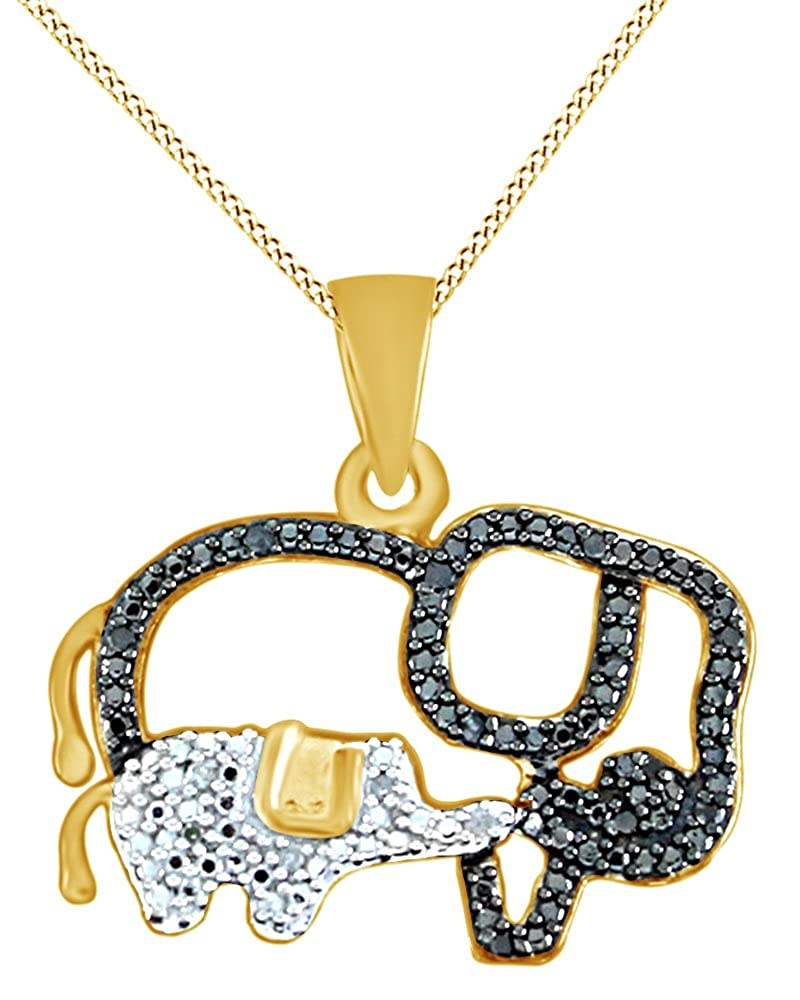 0.05 Ct AFFY White /& Black Natural Diamond Elephant Pendant Necklace in 14K Gold Over Sterling Silver