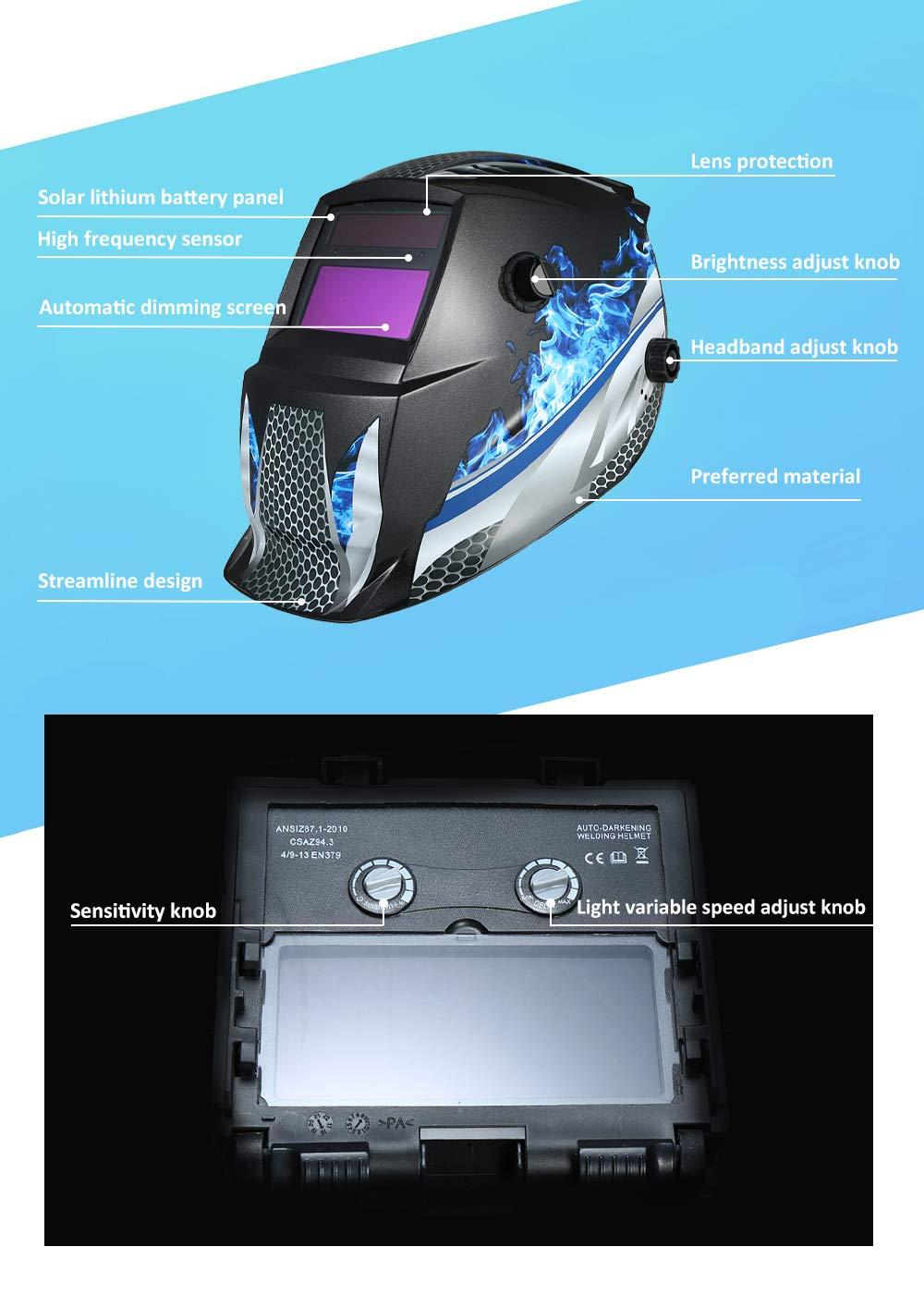KKmoon Casco de Soldadura Solar Enérgico de Tig Mig Molienda de estilo robótico profesional: Amazon.es: Bricolaje y herramientas