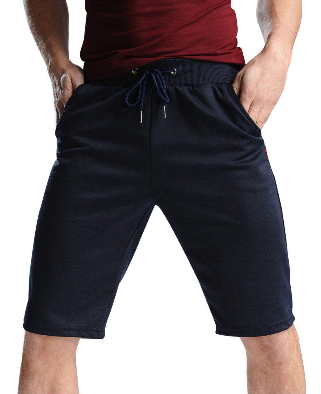 Men Cotton Elastic Waist Casual Shorts Fitted Gym Lounge Pants with Pockets Feibai