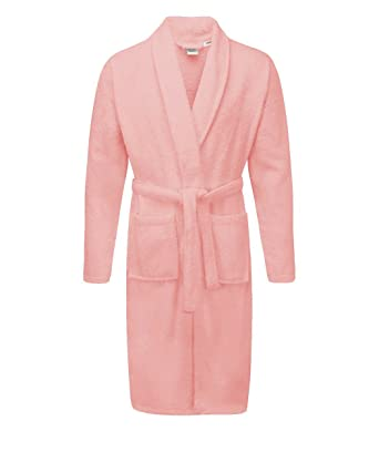 Ladies 100% Egyptian Cotton Terry Towelling Bathrobe Pink (Large XLarge)   Amazon.co.uk  Clothing ae47bc212