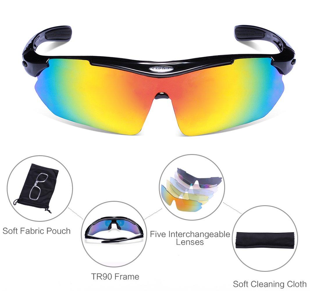 Carfia Polarized Sports Sunglasses for Men and Women Cycling Sunglasses