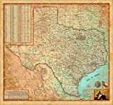 Antiqued Texas Wall Map - Laminated 39''w x 36''h