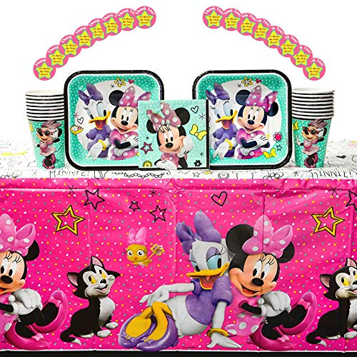 Minnie Mouse Happy Helpers Party Supplies Pack for 16 Guests: Stickers, Dessert Plates, Beverage Napkins, Table Cover, and Cups ()