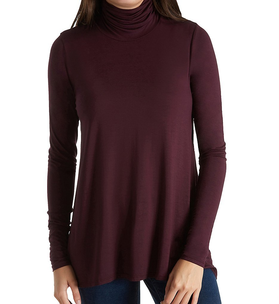 Three Dots Refined Jersey Long Sleeve High Low Turtleneck (LD2172) S/Aubergine