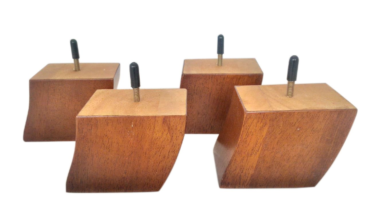 3.5'' HQ Light Oak Square Tapered Wood Furniture Legs (couch or sofa), Set of 4