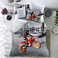 THEE 3D Motorcycle Quilt Cover Bedding Duvet Cover Set with Pillow Case