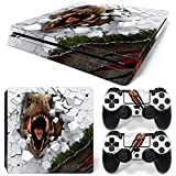 Ps4 Slim Playstation 4 Slim Console Skin Decal Sticker T-Rex Dinosaur + 2 Controller Skins Set (Slim Only)