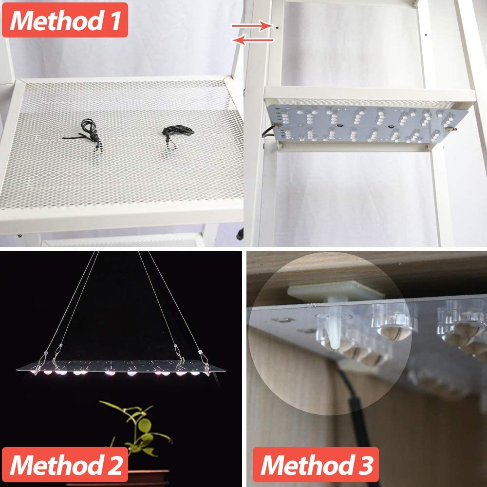 2 pcs Grow Panel with Extension Cables Red and White Full Spectrum Plant Light DIY Easy Installation for Greenhouse Grow Shelf Dommia 50W LED Grow Light for Indoor Plants DC 24V
