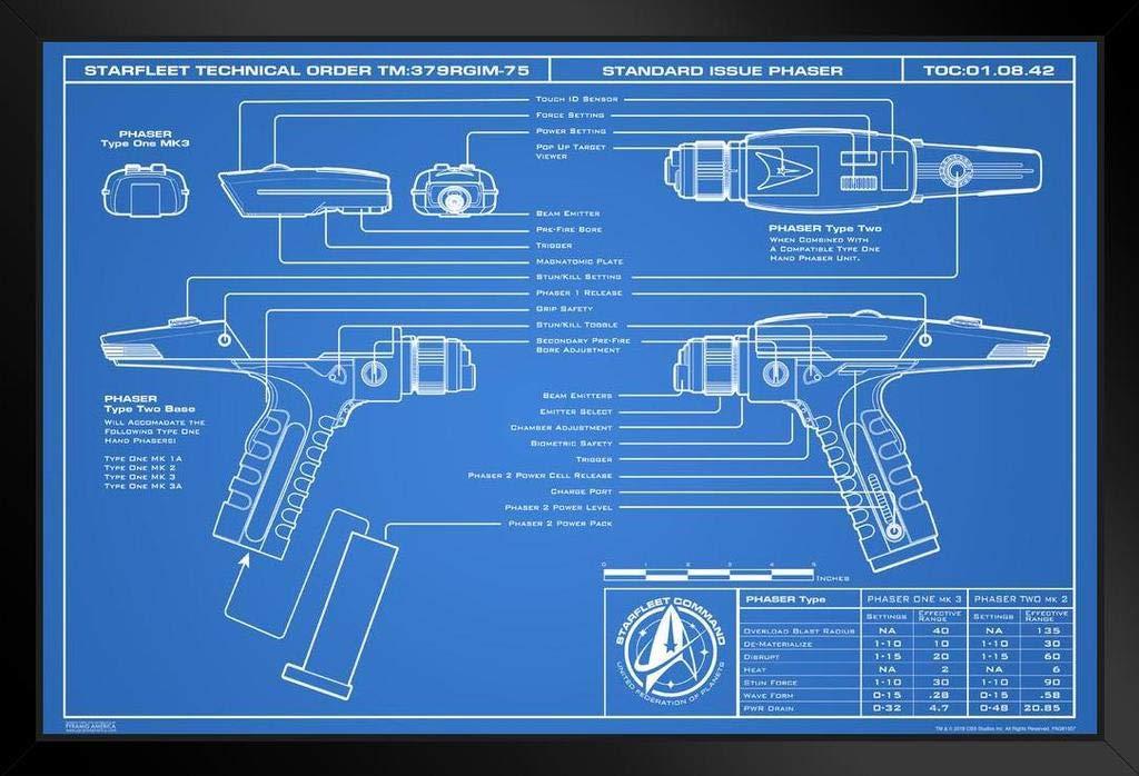 Star Trek Discovery Phaser Blueprint 2 Framed Poster 14x20 inch