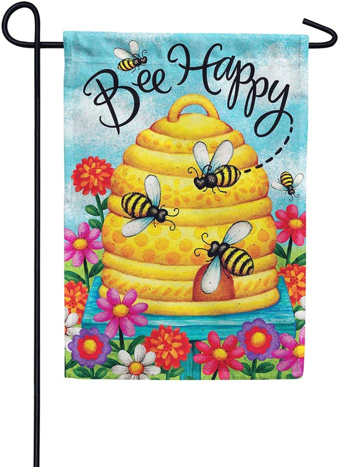Custom Decor Bee Happy - Garden Size, Decorative Double Sided, Licensed and Copyrighted Flag - Printed in The USA Inc. - 12 Inch X 18 Inch Approx. Size