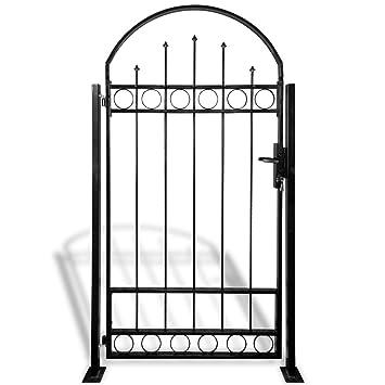 120 cm hoch 90 cm breit schwarz Antik Design Stil Rundbogen Gartent/ür Relaxdays Gartentor Metall GOTH mit Pfosten