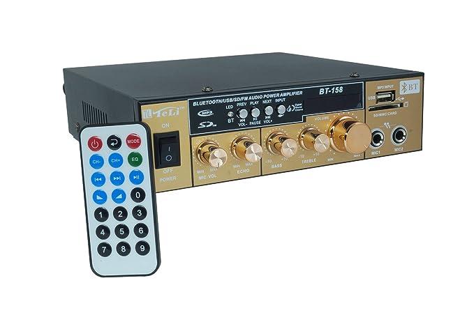 Amplificador Audio Estéreo 2 Canales Bluetooth USB SD MP3 Karaoke bt-158