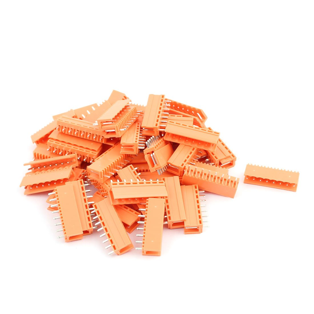 uxcell 50Pcs AC300V 3.96mm Pitch 8P Straight Needle Seat Plug-In PCB Terminal Block Connector