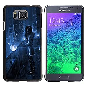 Caucho caso de Shell duro de la cubierta de accesorios de protección BY RAYDREAMMM - Samsung GALAXY ALPHA G850 - Night Blue City Lights Futurism Headphones Art