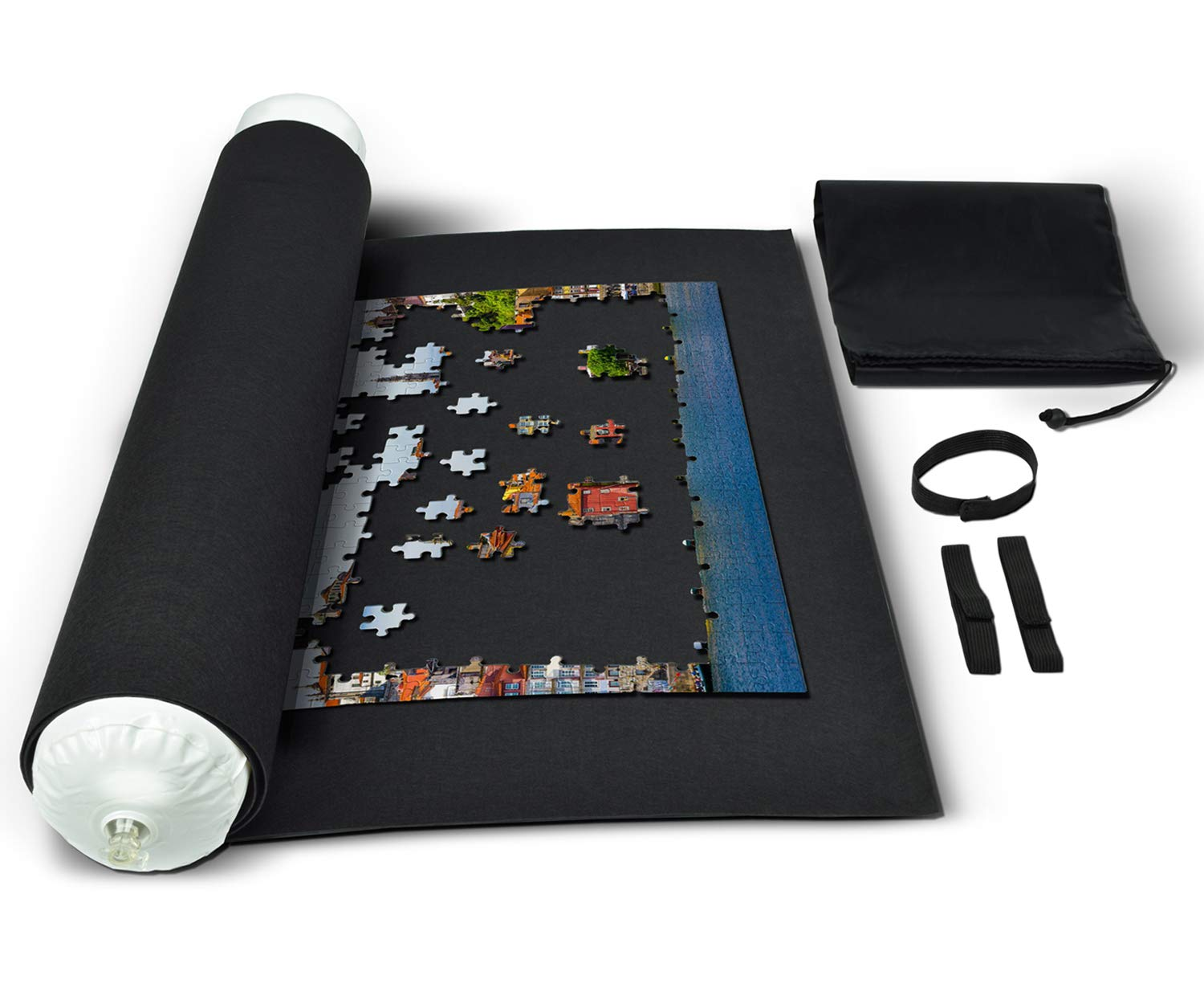 Roll Up Puzzle Mat for Jigsaw Puzzles Storage Black Felt with No Folded Creases by RNK Gaming