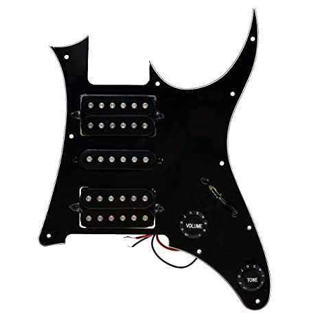 amazon com: loaded prewired pickguard with pickups for ibanez grg250  electric guitar parts replacement hsh black: musical instruments