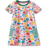 Fiream Girls Cotton Casual Dresses Short Sleeves Floral print Dresses(185007,2T/2-3YRS)