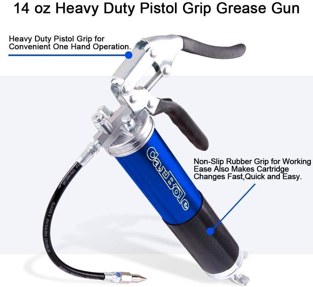 F/ácil de Usar envase de Aluminio anodizado de 14 oz 6000 PSI de 3 v/ías de Carga Pistola de Agarre de Pistola de 18para lubricantes de Grasas