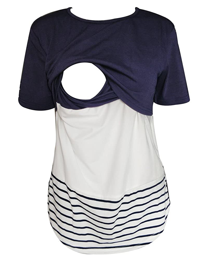 Women Nursing Tops Back Lace Short Sleeve Breastfeeding Shirt Maternity Clothes