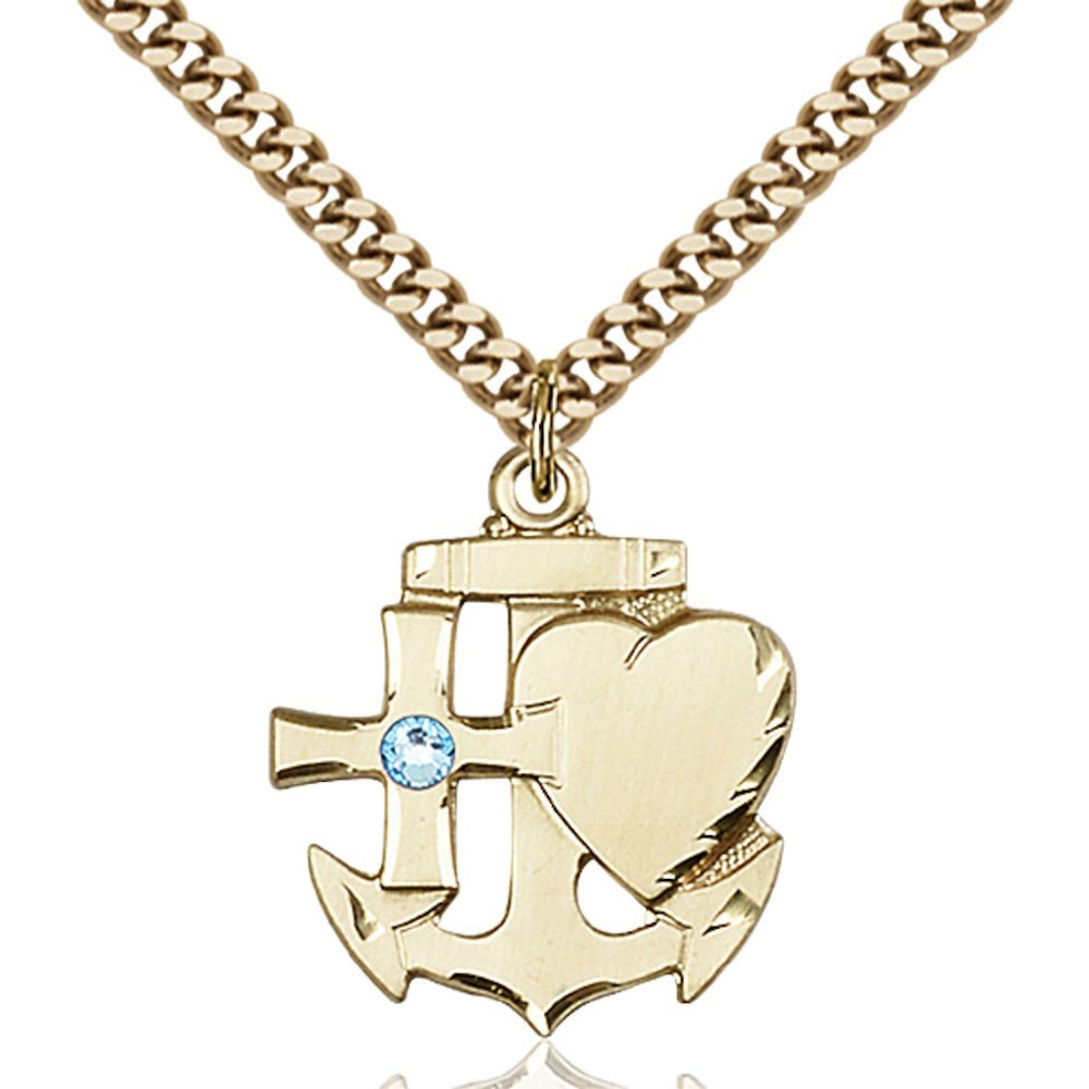 Gold Filled Faith, Hope & Charity Pendant with 3mm March Blue Swarovski Crystal. 7/8 x 3/4 inches with Heavy Curb Chain Bliss Manufacturing 6045GF-STN3/24G