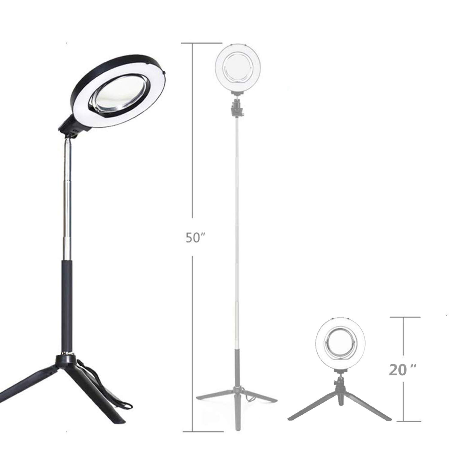 Ring Light with Stand for Camera Live Stream Makeup Phone,Dimmable LED Selfie Ring Light for Phone Video Shooting by NCElec