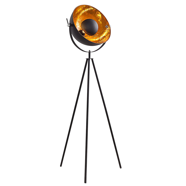 Moderne Design Stehlampe STUDIO schwarz gold 140cm Lampe Beleuchtung