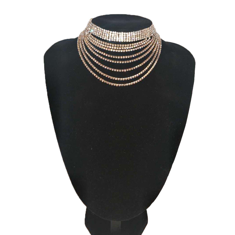 Croozy Womens Multilayer Rhinestone Choker Girls Crystal Choker Necklace Wedding Collar Party Choker Necklace (Gold)