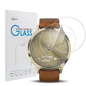 Qoosea Protector de Pantalla para Garmin Vivomove HR (2-Pack) 9H Cobertura Completa Cristal Templado Protector Alta definición Anti-rasguños Alta ...