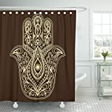 Emvency Shower Curtain 72''x72'' Home Decor Henna Hamsa Hand Drawn Symbol Egyptian India Fatima Lucky Magic Talisman Indian Waterproof Polyester Fabric Adjustable Hook