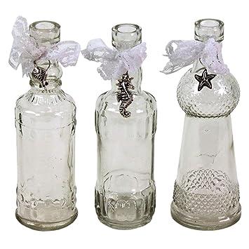 3er Set Dekoflasche aus Glas mit Anhänger 17 cm Transparent