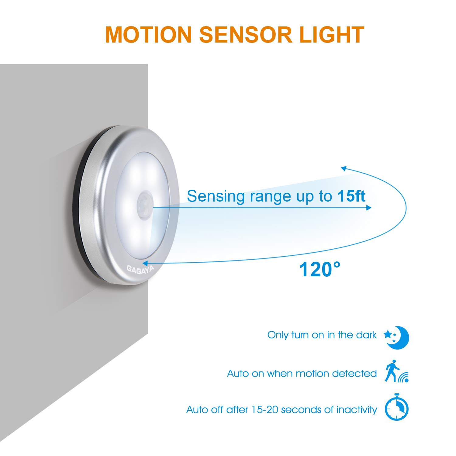 LED Motion Sensor Light Battery Operated, Closet Lights, Stick on Light for Closet, Hallway, Stair, Step, Cabinet, Kitchen, Garage, Bathroom, Wireless Wall Lamp for Home Indoor 6-Pack White Light
