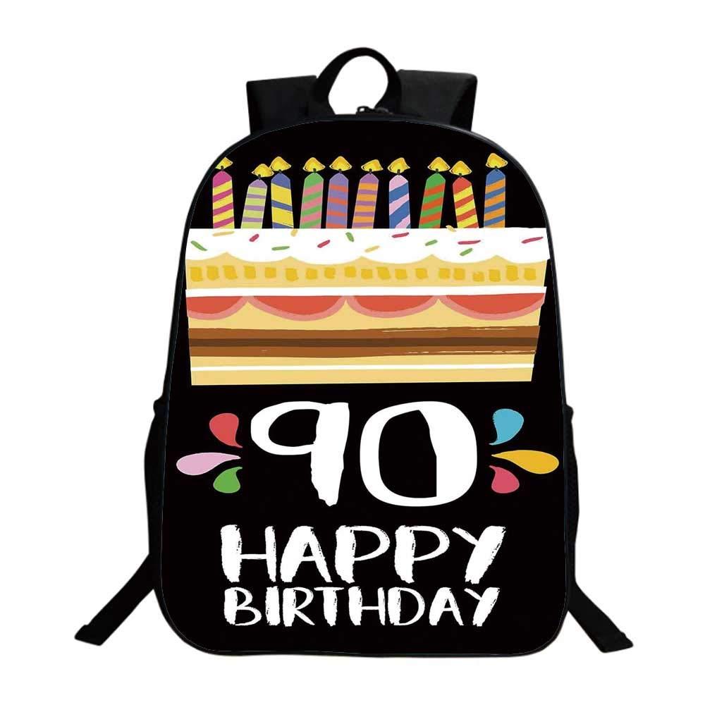90th Birthday Decorations Multifunction School Bag,Colorful Party Set Up on Black Background Cake Candles Artistic For school,One_Size
