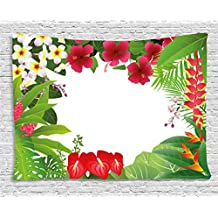 Leaf Tapestry by Ambesonne, Hibiscus Plumeria Crepe Gingers Anthurium Leaves Frame Image Print, Wall Hanging for Bedroom Living Room Dorm, 60 W X 40 L Inches, Hot Pink White Red and Green