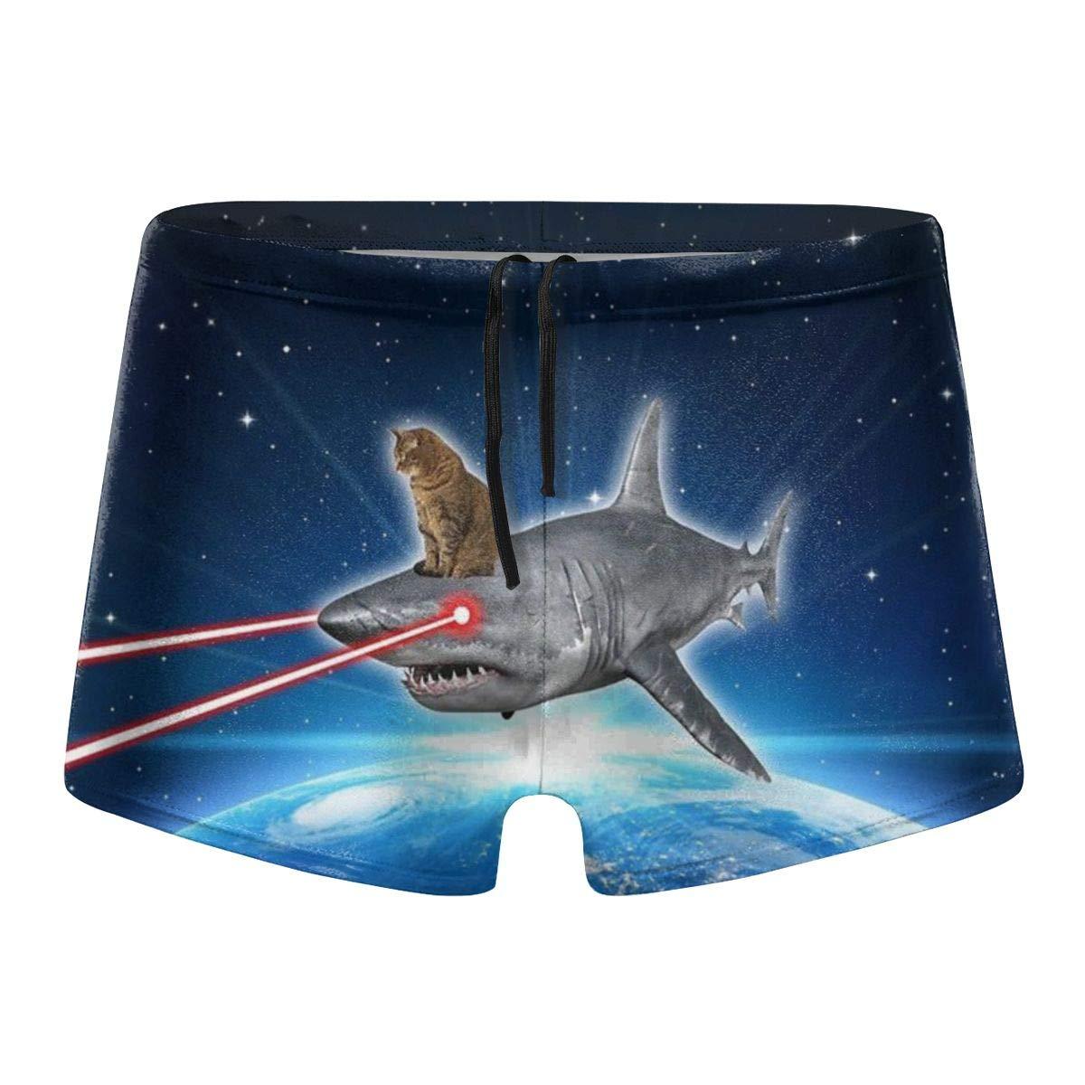 Space Cat Laser Shark Funny Mens Swim Brief Square Leg Swimsuit