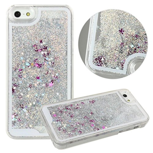 GBSELL Bling Glitter Stars Fantasy Shiny Case Cover For iPhone 5 5s (White)