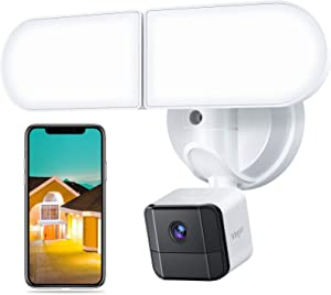 Floodlight Camera, Voger Security Camera Outdoor 2500-Lumen Brightness with Siren Alarm IP65 Waterproof 1080p Night Vision Motion-Activated and Two-Way Audio White