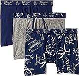 Original Penguin Mens Fashion Logo 3 Pack Boxer Brief, Blue, Navy, Grey, XL