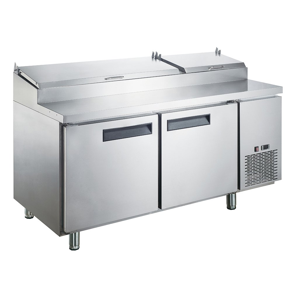Dukers Appliance USA DUK600162378063 Sandwich Pizza Prep Table Refrigerator, 2 Door, 70'' Width x 31'' Depth x 43'' Height, Silver, Stainless steel