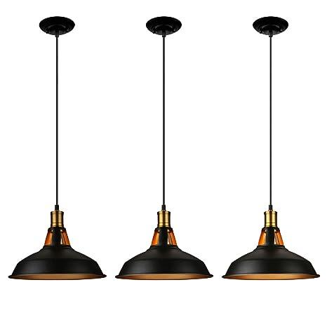 ae8969ff62 LEONLITE Industrial Metal Pendant Light, Edison Vintage Style Hanging Barn  Lampshade, Matte Black,